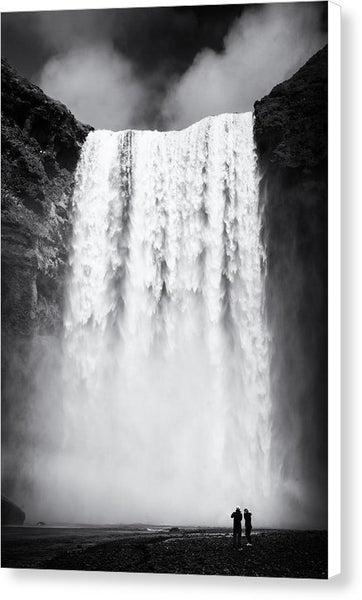 Waterfall Skogafoss Iceland Black And White - Canvas Print