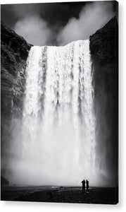 Waterfall Skogafoss Iceland Black And White - Acrylic Print