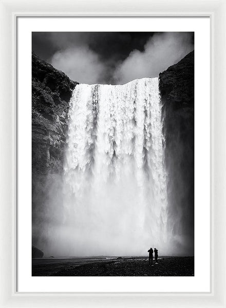 Waterfall Skogafoss Iceland Black And White - Framed Print