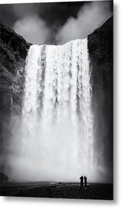 Waterfall Skogafoss Iceland Black And White - Metal Print
