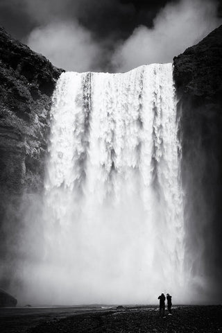 Waterfall Skogafoss Iceland Black And White - Art Print
