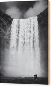 Waterfall Skogafoss Iceland Black And White - Wood Print