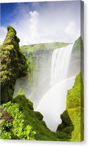 Waterfall Skogafoss Iceland In Green Paradise - Canvas Print