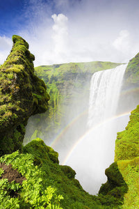 Waterfall Skogafoss Iceland In Green Paradise - Art Print