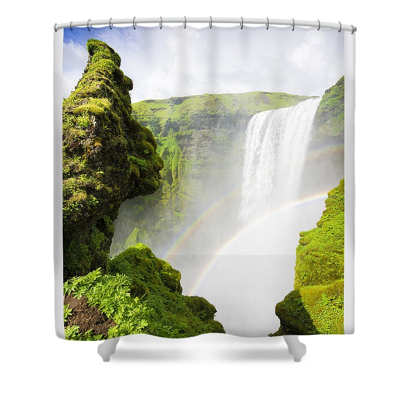 Waterfall Skogafoss Iceland In Green Paradise - Shower Curtain