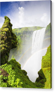 Waterfall Skogafoss Iceland In Green Paradise - Acrylic Print