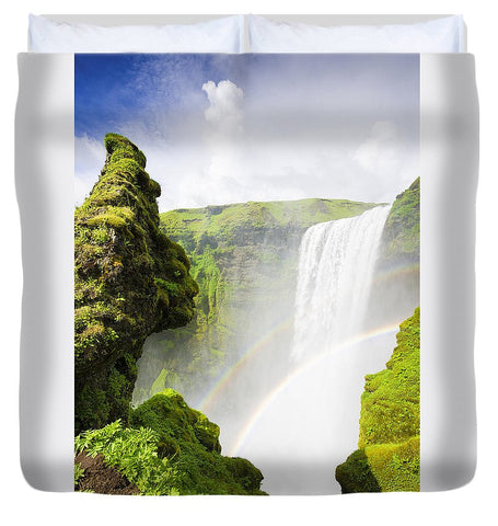 Waterfall Skogafoss Iceland In Green Paradise - Duvet Cover