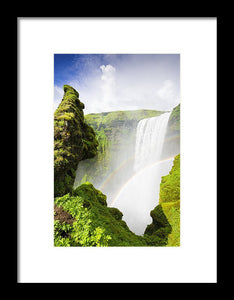 Waterfall Skogafoss Iceland In Green Paradise - Framed Print