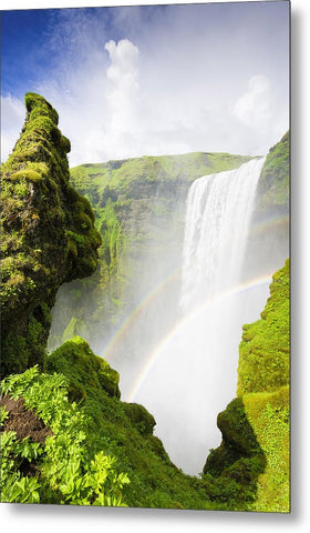 Waterfall Skogafoss Iceland In Green Paradise - Metal Print