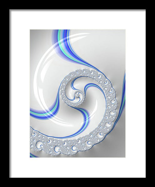 White And Blue Spiral Elegant And Minimalist - Framed Print