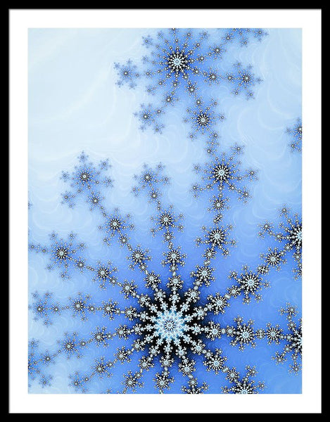 Winter Fractal Blue And White Ice Crystal - Framed Print