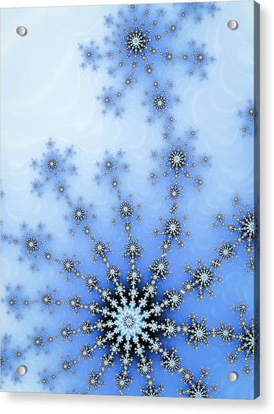 Winter Fractal Blue And White Ice Crystal - Acrylic Print