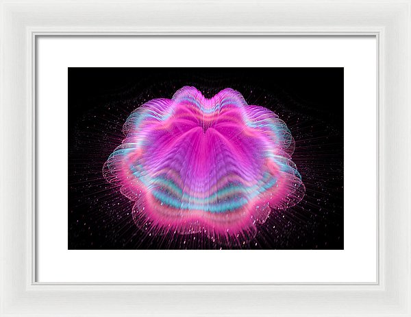 Wobbly Jelly Fractal Pink And Orchid - Framed Print