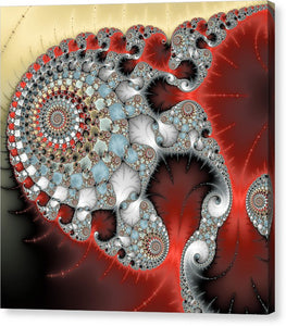 Wonderful Abstract Fractal Spirals Red Grey Yellow And Light Blue - Canvas Print