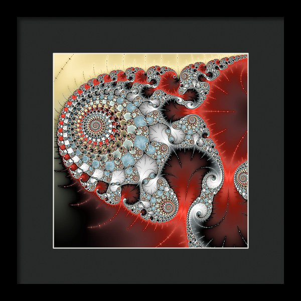 Wonderful Abstract Fractal Spirals Red Grey Yellow And Light Blue - Framed Print