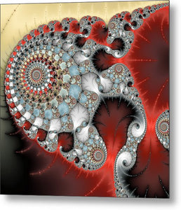 Wonderful Abstract Fractal Spirals Red Grey Yellow And Light Blue - Metal Print