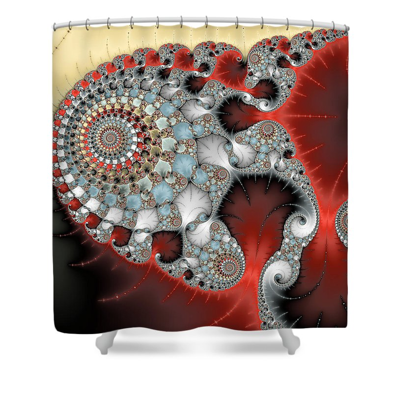 Wonderful Abstract Fractal Spirals Red Grey Yellow And Light Blue - Shower Curtain