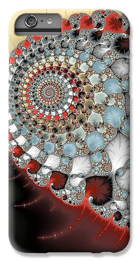 Wonderful Abstract Fractal Spirals Red Grey Yellow And Light Blue - Phone Case