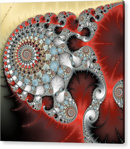 Wonderful Abstract Fractal Spirals Red Grey Yellow And Light Blue - Acrylic Print