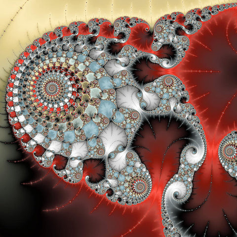 Wonderful Abstract Fractal Spirals Red Grey Yellow And Light Blue - Art Print