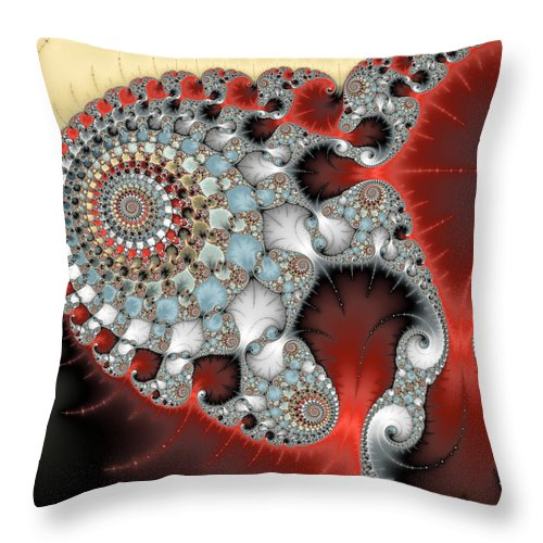 Wonderful Abstract Fractal Spirals Red Grey Yellow And Light Blue - Throw Pillow