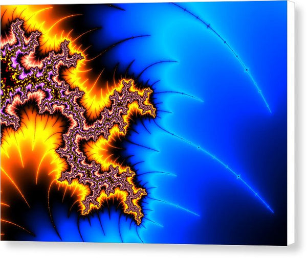Yellow And Blue Fractal Artwork - Canvas Print