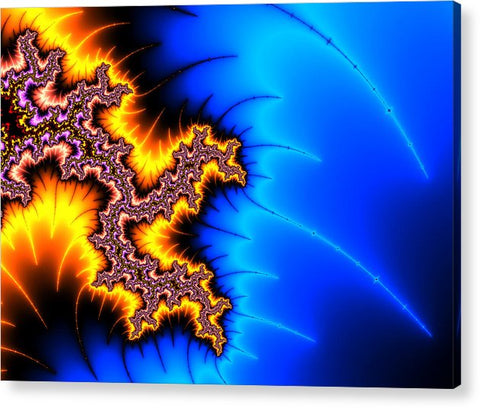 Yellow And Blue Fractal Artwork - Acrylic Print