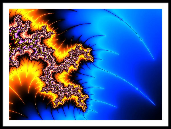 Yellow And Blue Fractal Artwork - Framed Print