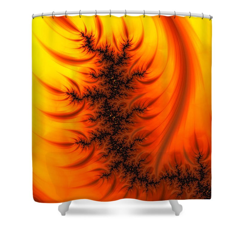 Yellow And Orange Fractal Fire - Shower Curtain