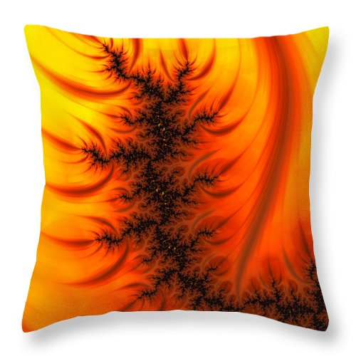Yellow And Orange Fractal Fire - Throw Pillow