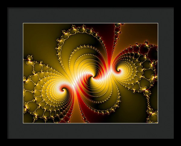 Yellow And Red Metal Fractal Art - Framed Print