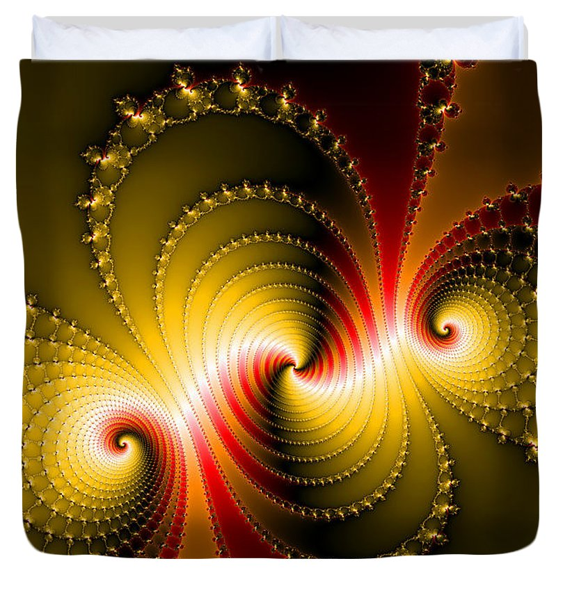 Yellow And Red Metal Fractal Art - Duvet Cover