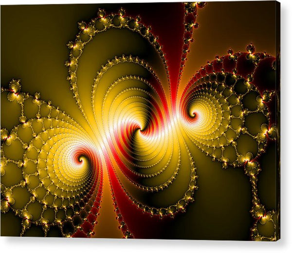 Yellow And Red Metal Fractal Art - Acrylic Print