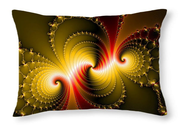 Yellow And Red Metal Fractal Art - Throw Pillow
