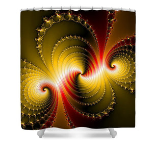 Yellow And Red Metal Fractal Art - Shower Curtain
