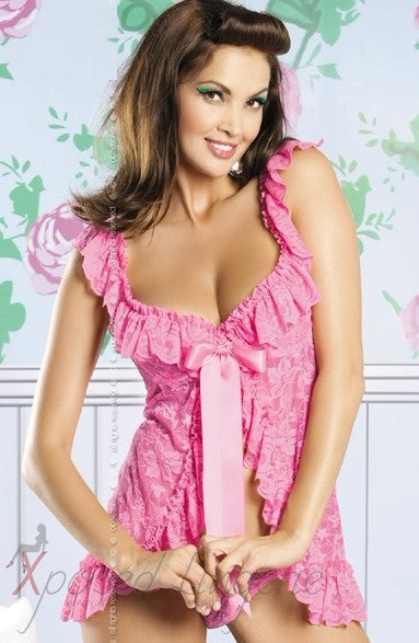 Lace babydoll with frill