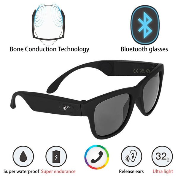 G1 Bone Conduction Headphones Polarized Glasses Sunglasses kkcite CSR8635 Bluetooth 4.0 Headset SmartTouch Stereo Music Earphone Wireless Headphone with Microphone Black (G1) - Cool-Hyper-Tech
