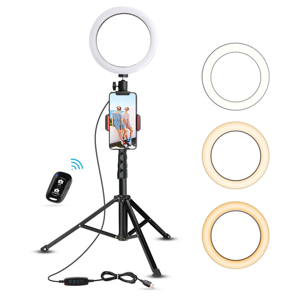 "8"" Selfie Ring Light with Tripod Stand & Cell Phone Holder for Live Stream/Makeup, UBeesize Mini Led Camera Ringlight for YouTube Video/Photography Compatible with iPhone Xs Max XR Android (Upgraded) - Cool-Hyper-Tech"