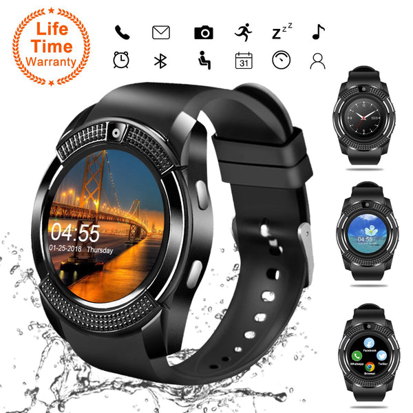 Smart Watch, Bluetooth Smartwatch Touch Screen Wrist Watch with Camera/SIM Card Slot,Waterproof Smart Watch Sports Fitness Tracker Android Phone Watch Compatible with Android Phones Samsung Huawei - Cool-Hyper-Tech