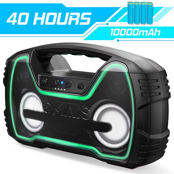 Bluetooth Speakers, AOMAIS 40-Hour Playtime Portable Outdoor Wireless Speaker with 10000mAh Battery, 25W Loud Volume & Deeper Bass / IPX7 Waterproof/LED Lights for Party, Pool, Beach [2019 Newest] - Cool-Hyper-Tech