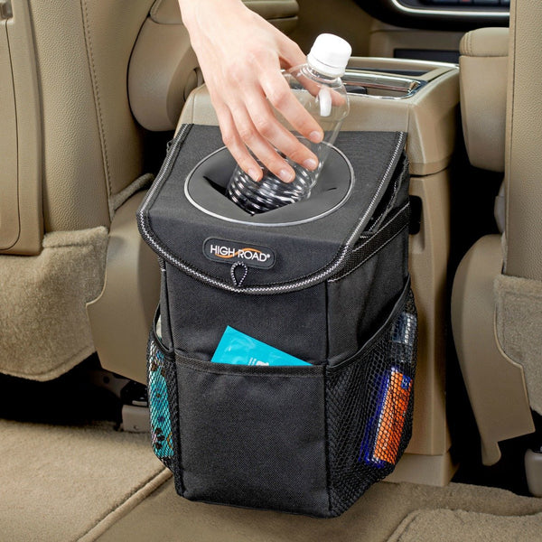 High Road StashAway Console Car Trash Can with Lid - Cool-Hyper-Tech