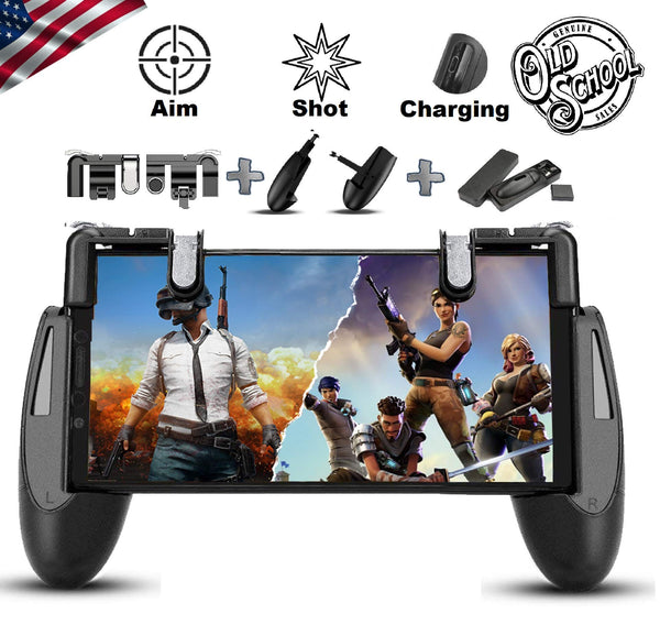 SEMSA PUBG Mobile Game Controller - [New Version] Cell Phone Gaming Joystick Accessories, Gamepad, L1R1 Sensitive Shoot and Aim Triggers Fire Buttons for iOS Android (2 Trigger and Game Pad) - Cool-Hyper-Tech