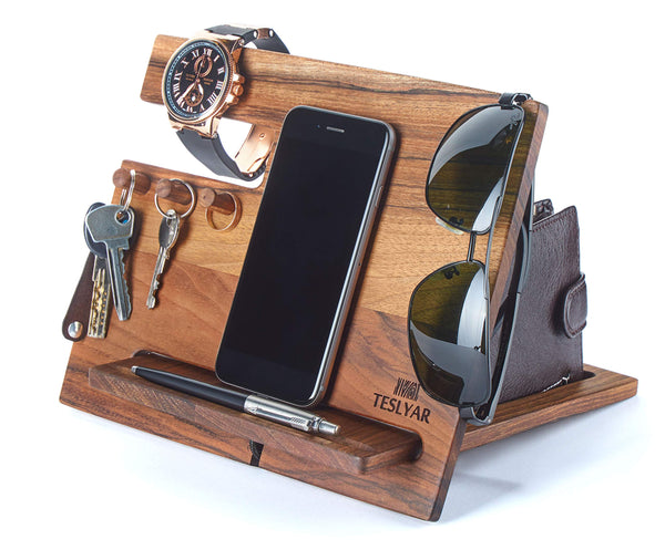 Wood Phone Docking Station Walnut Hooks Key Holder Wallet Stand Watch Organizer Men Gift Husband Wife Anniversary Dad Birthday Nightstand Purse Tablet Father Graduation Male Travel Idea Gadgets - Cool-Hyper-Tech