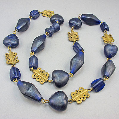 Vintage african beads baule brass necklace