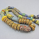 Antique african beads crushed millefiori  beads strand