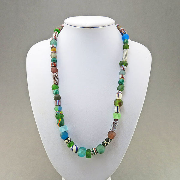 Antique african trade beads necklace mixed venetian glass beads