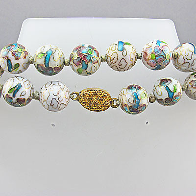 Ccream cloisonne vintage chinese beads necklace