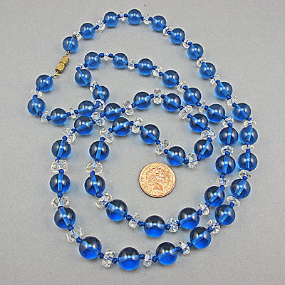 Antique pekin glass beads necklace crystal spacers