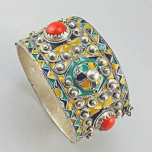 Vintage bangle moroccan enamel ethnic jewellery