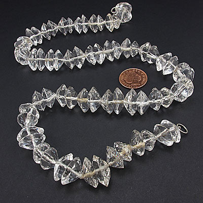 Vintage rock crystal beads necklace faceted discs
